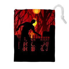 Horror Zombie Ghosts Creepy Drawstring Pouches (extra Large)