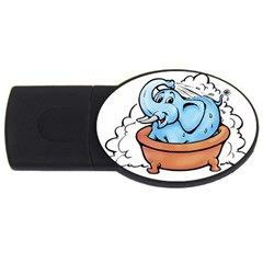 Elephant Bad Shower Usb Flash Drive Oval (4 Gb)  by Amaryn4rt