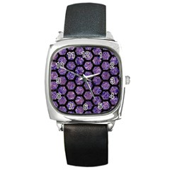 Hexagon2 Black Marble & Purple Marble (r) Square Metal Watch