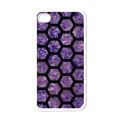 Hexagon2 Black Marble & Purple Marble (r) Apple Iphone 4 Case (white) by trendistuff