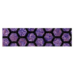 Hexagon2 Black Marble & Purple Marble (r) Satin Scarf (oblong) by trendistuff