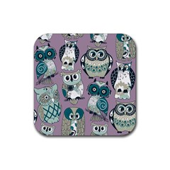 Seamless Owl Pattern Purple Rubber Square Coaster (4 Pack)  by AnjaniArt