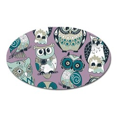 Seamless Owl Pattern Purple Oval Magnet by AnjaniArt