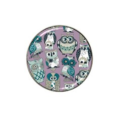 Seamless Owl Pattern Purple Hat Clip Ball Marker (10 Pack)