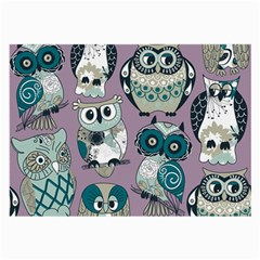 Seamless Owl Pattern Purple Large Glasses Cloth (2 Side) by AnjaniArt