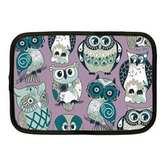 Seamless Owl Pattern Purple Netbook Case (medium)  by AnjaniArt