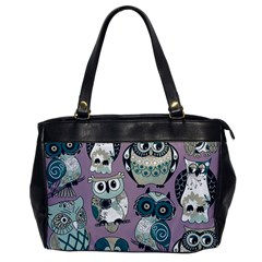 Seamless Owl Pattern Purple Office Handbags by AnjaniArt