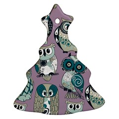 Seamless Owl Pattern Purple Christmas Tree Ornament (2 Sides) by AnjaniArt