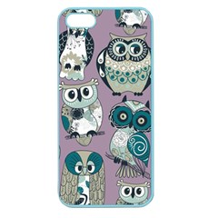 Seamless Owl Pattern Purple Apple Seamless Iphone 5 Case (color)