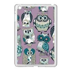 Seamless Owl Pattern Purple Apple Ipad Mini Case (white) by AnjaniArt