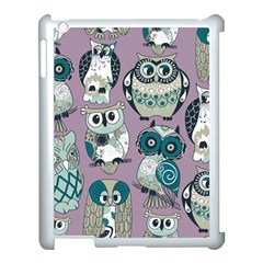 Seamless Owl Pattern Purple Apple Ipad 3/4 Case (white) by AnjaniArt