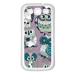 Seamless Owl Pattern Purple Samsung Galaxy S3 Back Case (white)