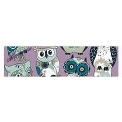 Seamless Owl Pattern Purple Satin Scarf (oblong)