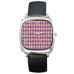 Purple Green Argyle Background Square Metal Watch by AnjaniArt