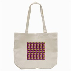 Purple Green Argyle Background Tote Bag (cream)