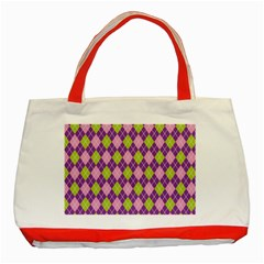 Purple Green Argyle Background Classic Tote Bag (red)
