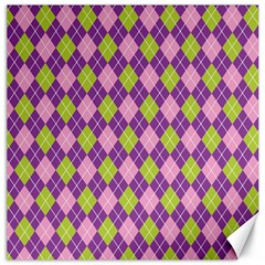 Purple Green Argyle Background Canvas 16  X 16   by AnjaniArt