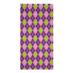 Purple Green Argyle Background Shower Curtain 36  X 72  (stall)  by AnjaniArt