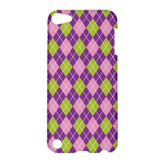 Purple Green Argyle Background Apple Ipod Touch 5 Hardshell Case by AnjaniArt