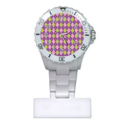Purple Green Argyle Background Plastic Nurses Watch