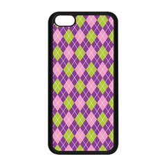 Purple Green Argyle Background Apple Iphone 5c Seamless Case (black)