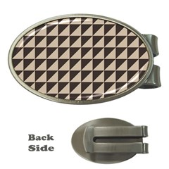 Brown Triangles Background Pattern  Money Clips (oval)