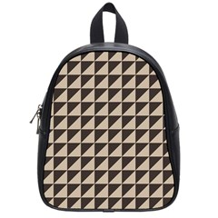 Brown Triangles Background Pattern  School Bags (small)  by Amaryn4rt