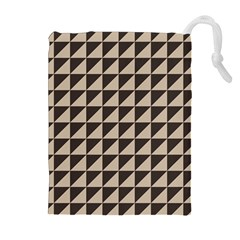 Brown Triangles Background Pattern  Drawstring Pouches (extra Large) by Amaryn4rt