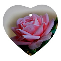 Rose Pink Flowers Pink Saturday Heart Ornament (2 Sides)