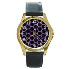 Hexagon2 Black Marble & Purple Marble Round Gold Metal Watch by trendistuff