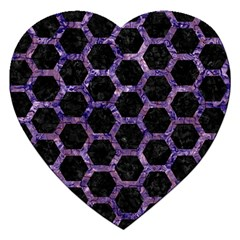 Hexagon2 Black Marble & Purple Marble Jigsaw Puzzle (heart) by trendistuff