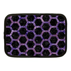 Hexagon2 Black Marble & Purple Marble Netbook Case (medium) by trendistuff