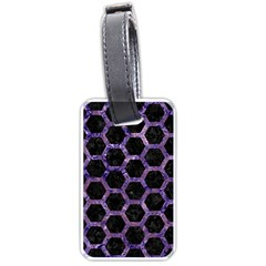 Hexagon2 Black Marble & Purple Marble Luggage Tag (one Side) by trendistuff