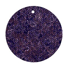 Hexagon1 Black Marble & Purple Marble (r) Round Ornament (two Sides) by trendistuff