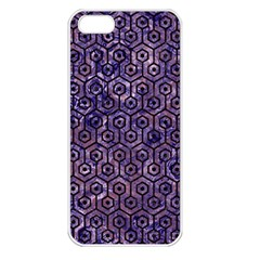 Hexagon1 Black Marble & Purple Marble (r) Apple Iphone 5 Seamless Case (white)