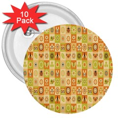 Texture Background Stripes Color Animals 3  Buttons (10 Pack)  by AnjaniArt