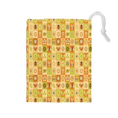 Texture Background Stripes Color Animals Drawstring Pouches (large)  by AnjaniArt
