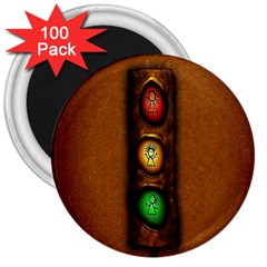 Traffic Light Green Red Yellow 3  Magnets (100 Pack)