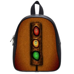 Traffic Light Green Red Yellow School Bags (small)  by AnjaniArt