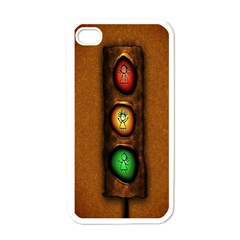 Traffic Light Green Red Yellow Apple Iphone 4 Case (white) by AnjaniArt