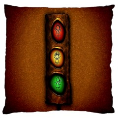 Traffic Light Green Red Yellow Large Cushion Case (one Side) by AnjaniArt