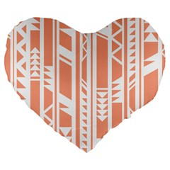 Tribal Pattern Large 19  Premium Heart Shape Cushions
