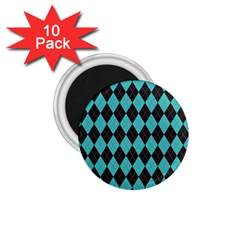 Tumblr Static Argyle Pattern Blue Black 1 75  Magnets (10 Pack)  by AnjaniArt