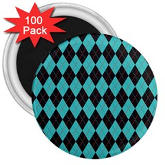 Tumblr Static Argyle Pattern Blue Black 3  Magnets (100 Pack) by AnjaniArt