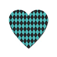 Tumblr Static Argyle Pattern Blue Black Heart Magnet by AnjaniArt