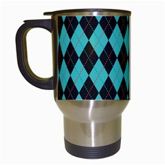 Tumblr Static Argyle Pattern Blue Black Travel Mugs (white) by AnjaniArt