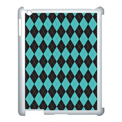 Tumblr Static Argyle Pattern Blue Black Apple Ipad 3/4 Case (white) by AnjaniArt