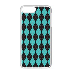 Tumblr Static Argyle Pattern Blue Black Apple Iphone 7 Plus White Seamless Case by AnjaniArt
