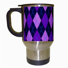 Tumblr Static Argyle Pattern Blue Purple Travel Mugs (white) by AnjaniArt