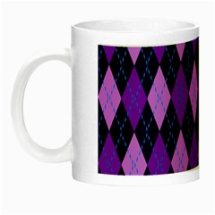 Tumblr Static Argyle Pattern Blue Purple Night Luminous Mugs by AnjaniArt